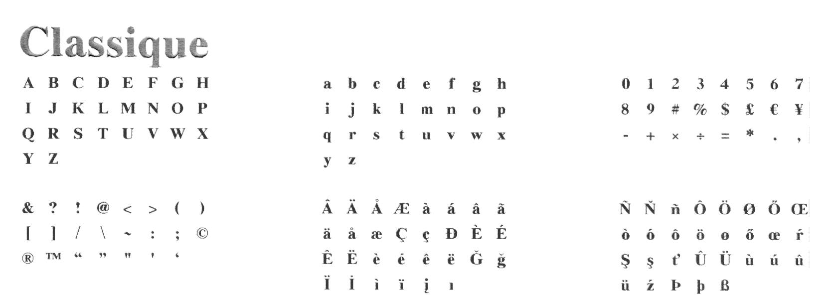 Typographie machine classique