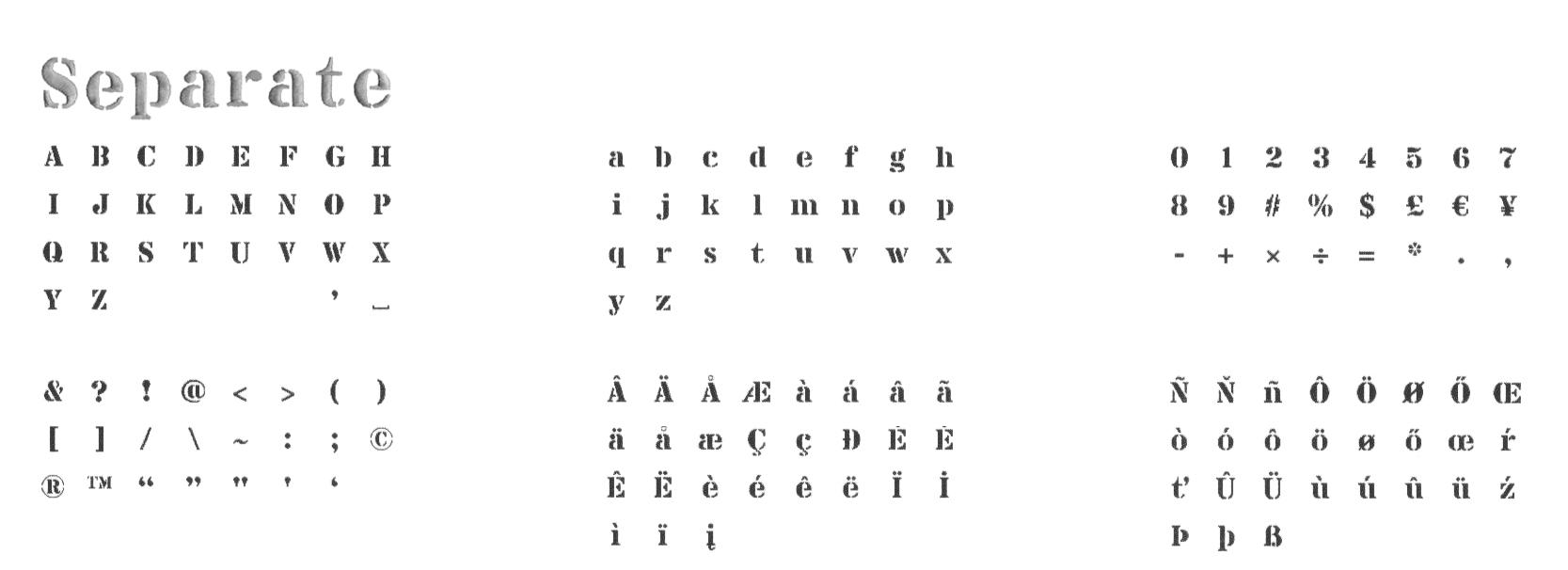Broderie lettre scindée - Separate